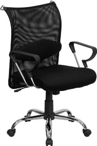 Flash Furniture Mid-Back Black Mesh Swivel Manager's Chair with Adjustable Lumbar Support and (Fits All Executive Conference Chair)