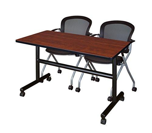 (Regency MKFT4824CH23BK & 2 Cadence Nesting Chairs Training Table, 48 x 24 inch, Cherry)