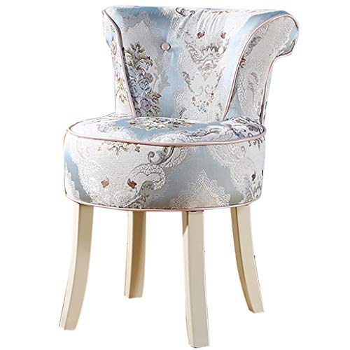 (ZDY Shabby Chic Chair/Makeup Stool/Padded Bench Chair/Dressing Chairs and Stools/Baroque Piano Chair, Solid Wood Legs/Upholstered, for Dressing Room/Living Room/Bedroom/Restaurant)