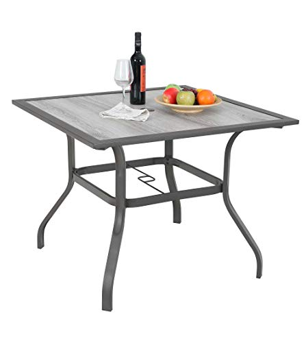 MF Garden Dining Table Umbrella Table Outdoor Coffee Bistro with Hole for Lawn Patio Pool Sturdy Metal Steel Frame Easy to Care Special Wood-Look Table top Design 37″ x 37″ Square Table