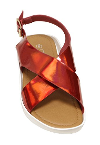 Forever Scope-09 Womens Open Teen Metallic Crossing Band Buckled Enkelband Patent Flat Sandals Rood