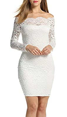 ACEVOG Women's Off Shoulder Lace Dress Long Sleeve Bodycon Casual Dresses