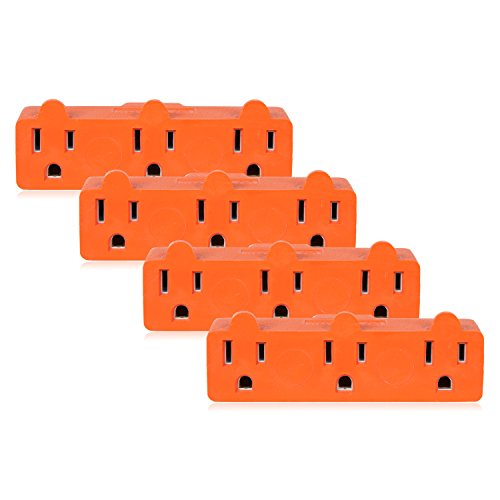 Maxxima Heavy Duty 3 Grounded Multi Outlet Adaptor Wall Plug, Turn one outlet into 3, Orange Adapter (Pack of 4)