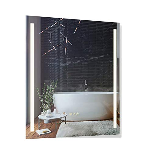 B&C 30x36 inch Super Slim Bathroom Mirror Vertical| 2 Led Strips| Polished -