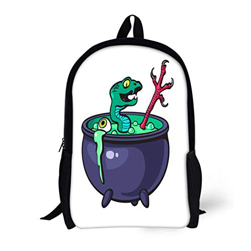 Pinbeam Backpack Travel Daypack Halloween Witches Cauldron Green Potion Serpent Eye Bird Waterproof School Bag for $<!--$25.90-->