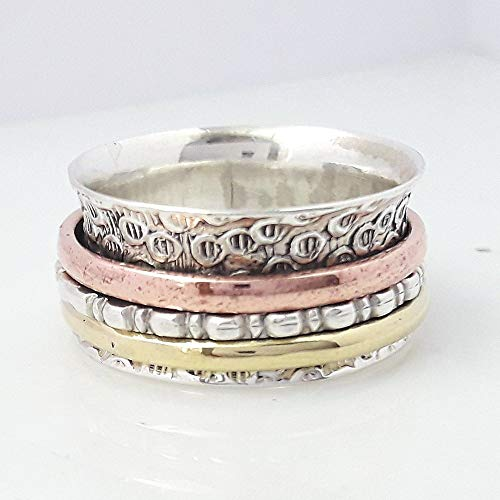 - Handmade Spinner Ring 925 Sterling Silver, Silver Jewelry, Meditation Ring, Anti Anxiety Ring, Chunky Ring, Handmade Ring Designer Rose Gold Ring, Textured Ring Tricolor ring