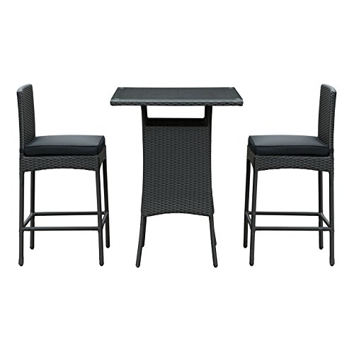 Modway Cerveza Pub Table/2-Chair Set in Black Rattan with Black Cushions