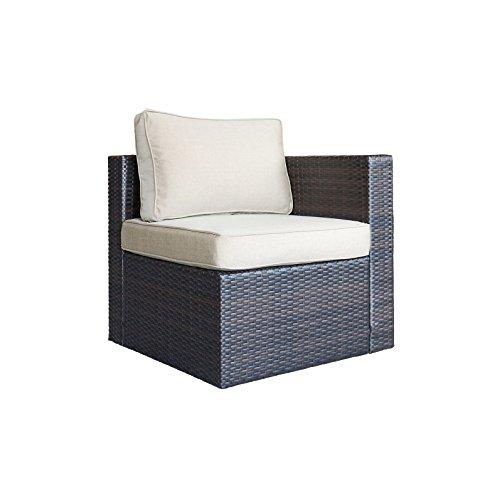 ORNO TTOBE Outdoor Patio Garden Furniture Rattan Wicker Sofa,Corner Chair
