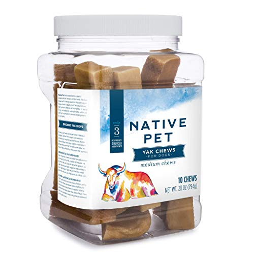 - Native Pet Yak Chews for Dogs (Bulk Size - 10 Medium Chews). Pasture-Raised and Organic Himalayan Churpi Chew. Long Lasting, Low Odor, and Protein Rich Reward Treat.