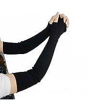 1Pair 41cm Knitted Winter Arm Warmer Fingerless Long Gloves- Elastic Stretch Winter Warm Long Arm Sleeve Fingerless Arm Gloves for Ladies Women Girl (Black)