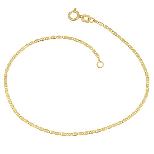10k Yellow Gold Valentino Anklet (1.2mm, 10 inch) by Kooljewelry