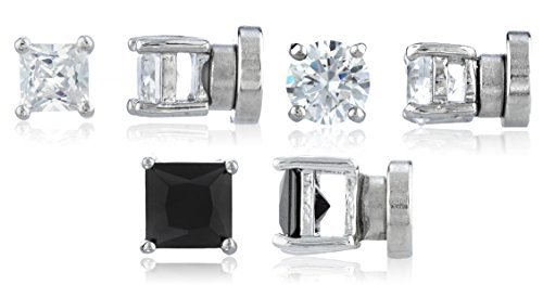 3 Pack Magnetic Stud Earrings 4mm Round and Square Shaped Studs Magnet Back Set (E-1503 + E-1512 + E-1521)