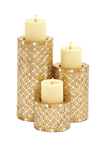 """Deco 79 23897 Metal Mosaic Candle Holder S/3 11"""",7"""",4"""" H"""