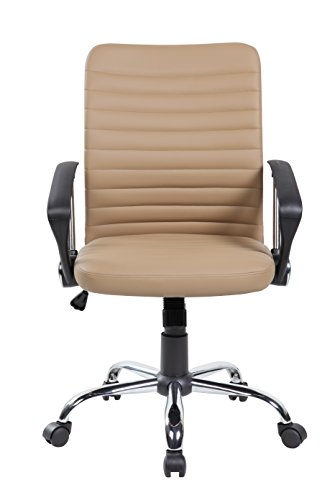 United Office Chair 8182BG Office VC-8182-BR Mid-Back Modern Ergonomic PU&PVC Computer Task Chair with Chrome Base,Beige