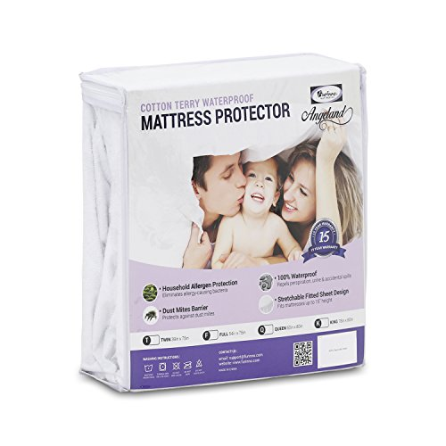 Furinno Angeland Terry Cloth Waterproof Mattress Protector, Twin, White