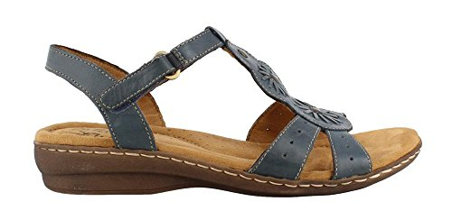 Natural Soul Women's Barroll T Strap Sandal,Spring Denim Leather,US 6 W