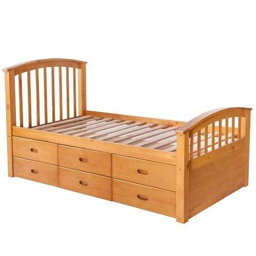 HUIJUNWENTI Bed Frame, Platform Storage Bed, Double Bed With 3 Drawers, Oak Loft Bed, (Color : B1)