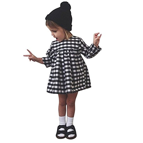 BOBORA Little Kids Baby Girls Long Sleeve Dress White and Black Plaid Skirt