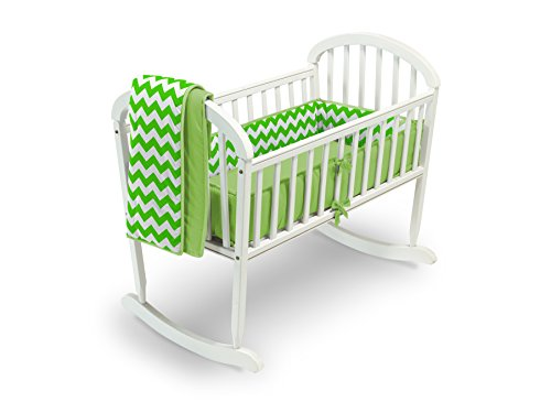 Baby Doll Bedding Chevron Cradle Bedding, Green by BabyDoll Bedding