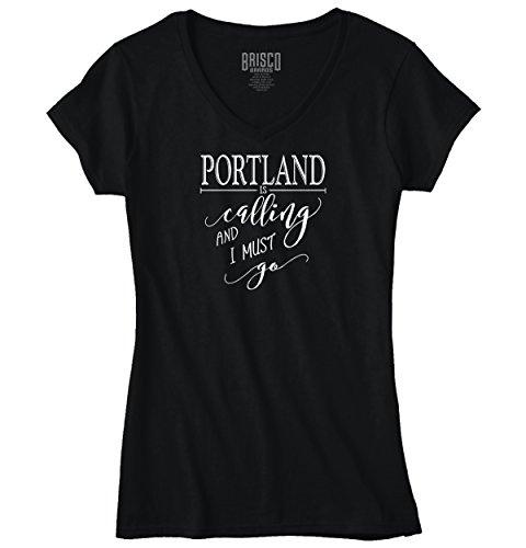 Brisco Brands Portland, OR Is Calling I Must Go Home Womens Shirt State City Junior V-Neck - Brand Portland