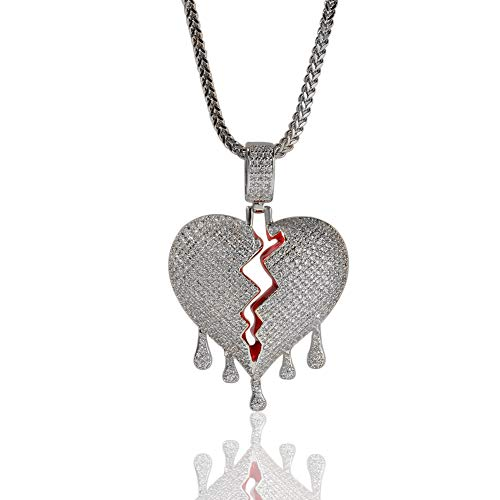 Moca Jewelry Hip Hop Iced Out Broke Heart Chain Bling Pendant 18K Gold Plated Necklace for Men Women