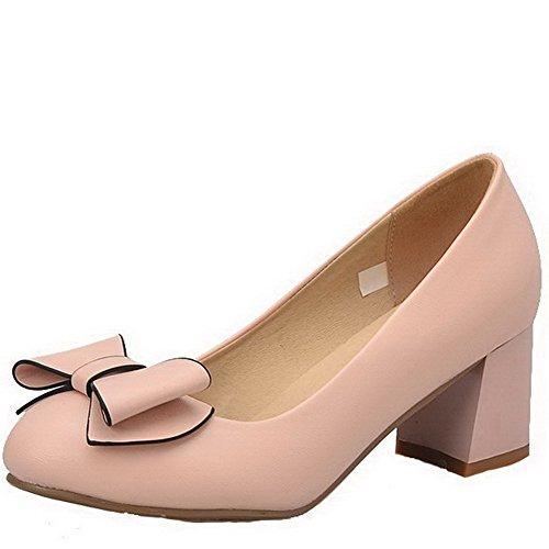 AllhqFashion Damen Weiches Material Rund Zehe Mittler Absatz Ziehen auf Rein Pumps Schuhe Pink
