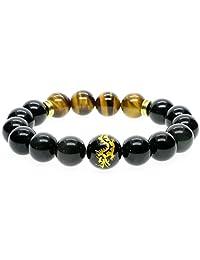 AmorWing Dragon Engraving Black Obsidian Tiger Eye Stone Bracelet for Men