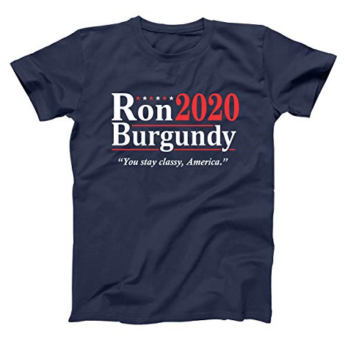 Donkey Tees Ron Burgundy Election 2020 The Legend Anchorman Mens Big and Tall T-Shirt LT Navy
