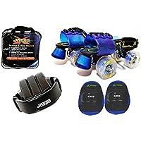 Jaspo Marshal Blue Adjustable Roller Skates Combo (Skates + Helmet + Knee Guards + Bag) - for Age Group 6 to 14 Years
