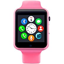 Smartwatch, Bluetooth Smart Watch Phone Wristwatch with Pedometer Camera SMS SNS Sync Music Player SIM Card Slot for Android IPhone (Partial Functions) Men Women Kids (Pink)