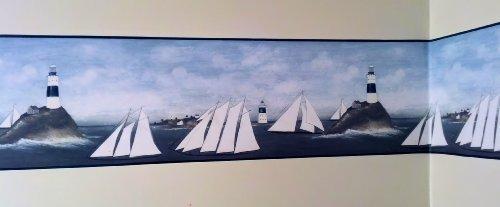 (Lighthouse and Sailboats Primitive Wallpaper Border…)