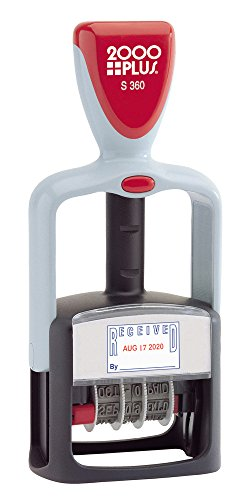 Plus 2000 Inking Self (2000PLUS 4-In-1 Date Stamp and Message Stamp,Self-Inking, Red and Blue Ink (032519))