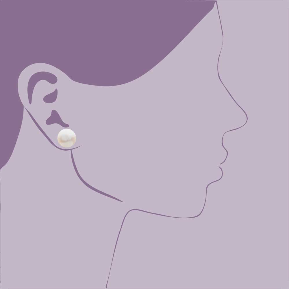 8mm 13mm AAA Freshwater Cultured Pink Pearl Button Stud Earrings 10K Yellow Gold