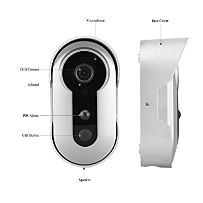 Wireless WIFI HD Video Doorbell, Battery Powered, Night Vision, 2-Way Audio, HD Video, Motion Sensor, Door Camera (Silver)