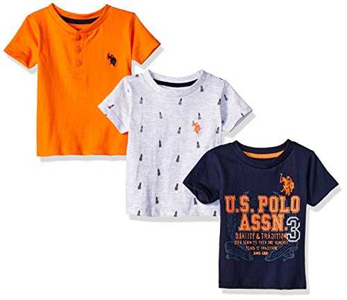 (U.S. Polo Assn. Baby Boys 3 Pack Short Sleeve T-Shirt, Mixed Pack with Graphic High Heat Orange, 24M)