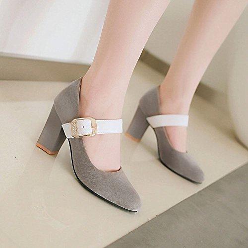 Blockabsatz Charm Schnalle Grau Schuhe Mee Damen Shoes Gericht IqwtCxfC
