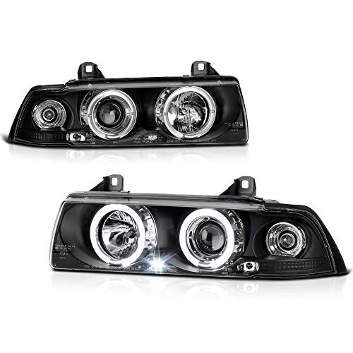 VIPMOTOZ For 1993-1999 BMW E36 3-Series Coupe Halo Ring Headlights, Driver & Passenger - Projector 98 E36 Halo Bmw