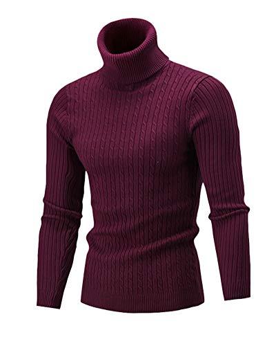 Rosso Alto Slim Maglione Uomo Lunga Inverno Manica Autunno Fit Maglieria Collo Dolcevita Vino waWgOXg7q