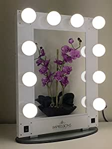 impressions vanity kw glam hollywood glam vanity mirror with led. Black Bedroom Furniture Sets. Home Design Ideas