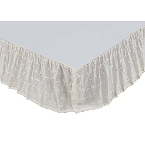 (VHC Brands Farmhouse Willow White Bed Skirt, Twin, Creme)