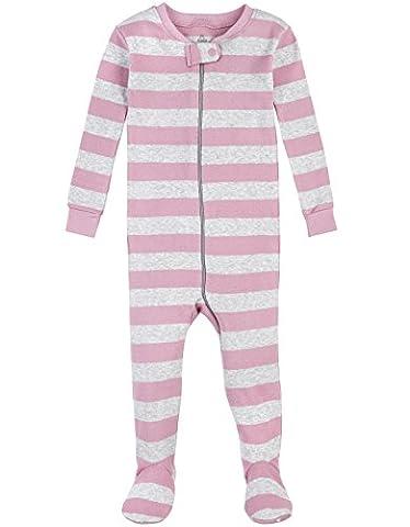 Petit Lem Girls' Cloud Stripe 1 Piece Footie Pajama, Pink/Grey, 12M - Girls Pink Sleeper