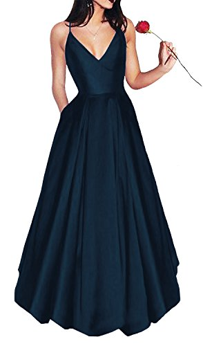 Yangprom Long Spaghetti Straps V-Neck Satin A-line Prom Dress with Pockets (4, Navy) ()