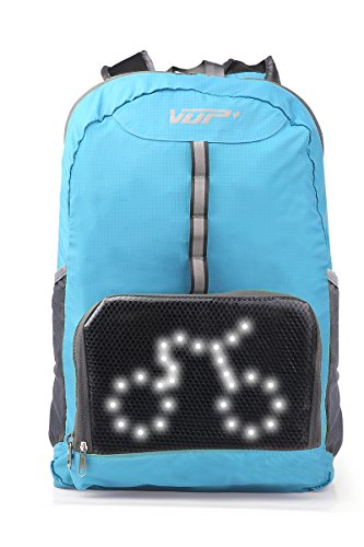 VUP Plus Foldable Cycling Backpack with LED Signal Light Wireless Remote Controled, Light Weighted, Super Breathable, Water Resistant - - Signal Light Plus