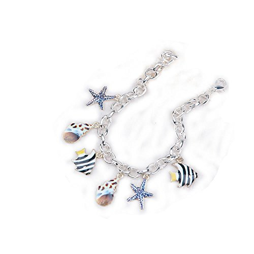 Clip on Charms Bracelets Link Cable Chain Multi Color Marine Animal Pattern 20.2cm(8