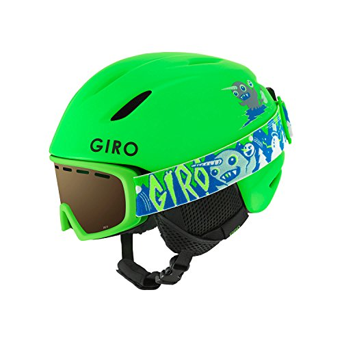 (Giro Launch CP Kids Snow Helmet w/Matching Goggles Matte Bright Green XS (48.5-52cm))