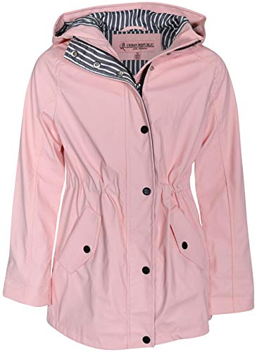 (Urban Republic Girls Anorak Vinyl Raincoat with Hood and Cinched Waist, Baby Pink, Size 14')
