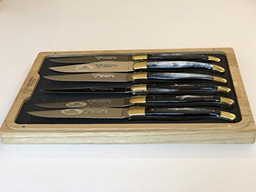 Laguiole en Aubrac Steak Knives Set of 6, Brass Pressed Horn (Horn Steak Knives)