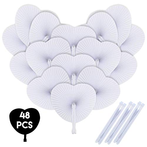 iZoeL Hand Fan White Fan Wedding Handheld Fan Pocket Pan Foldable Folding Gift Summer Occasion, Party, Outdoor Wedding, DIY, Wall Decoration - White Heart Shaped 48 Pack (48pack)
