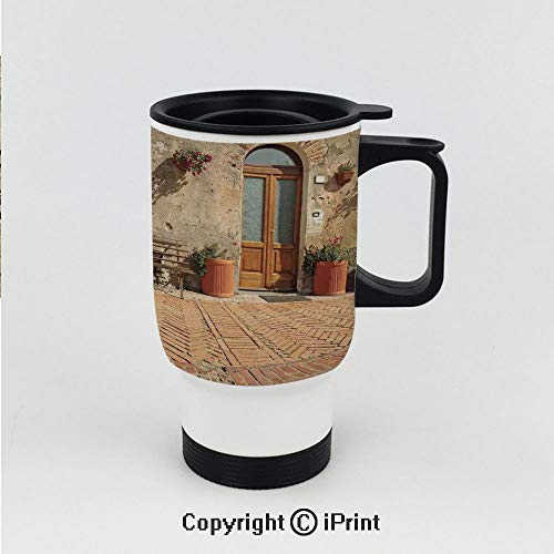 Friendly Village Coaster - Stainless Steel car cup,Medieval Facade Rustic Wooden Door Ancient Brick Wall in Small Village,Double Wall Stainless Steel Vacuum