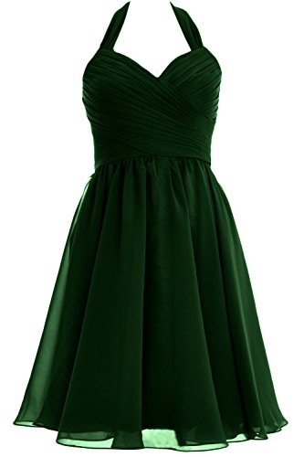 MACloth Women Halter Short Chiffon Bridesmaid Dress Wedding Cocktail Party Gown Verde Oscuro